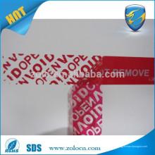 Teilübertragung rot Kundenspezifisch Einmalige Verwendung nur Sicherheits-Dichtungsaufkleber
