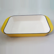 Yellow Enamel Cast Iron Rectangular Baking Dish