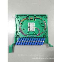 Cheio carregado bandeja de exposição óptica de 12 portas para a caixa da unidade de ODF com pigtail e adaptador