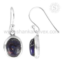 Beautiful purple copper turquoise silver earring 925 sterling silver gemstone jewellery exporters