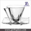 Crystal New Design Glass Cup and Saucer