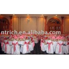 Couverture de chaise de satin, couverture de chaise de banquet/hôtel, ceinture d'organza