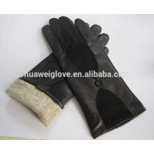 Wholesale cheap knitted wool lining ladies sheepskin leather suede gloves