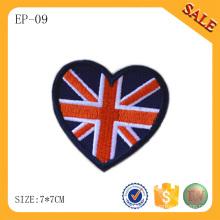 EP-09 Mode Herzform Hut bestickt Etikett benutzerdefinierte bestickte Tasche Patch