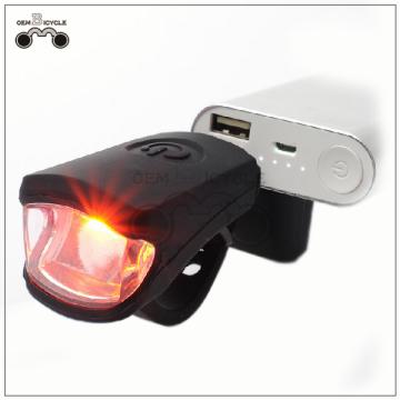 Cabeça de bicicleta de luz USB recarregável bicicleta luz principal de bicicleta de Silicone
