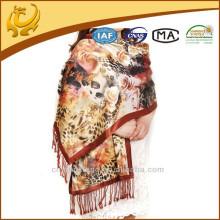 Digital gedruckt und gebürstet 100% Pashmina Double Layer Seide Schals und Schals Pashmina