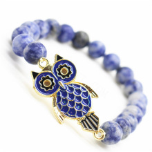 Sodalite Gemstone Bracelet with alloy Owl Piece