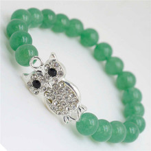 Green Aventurine Gemstone Bracelet with Diamante alloy Owl Piece