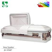 18 ga white finish steel metal casket