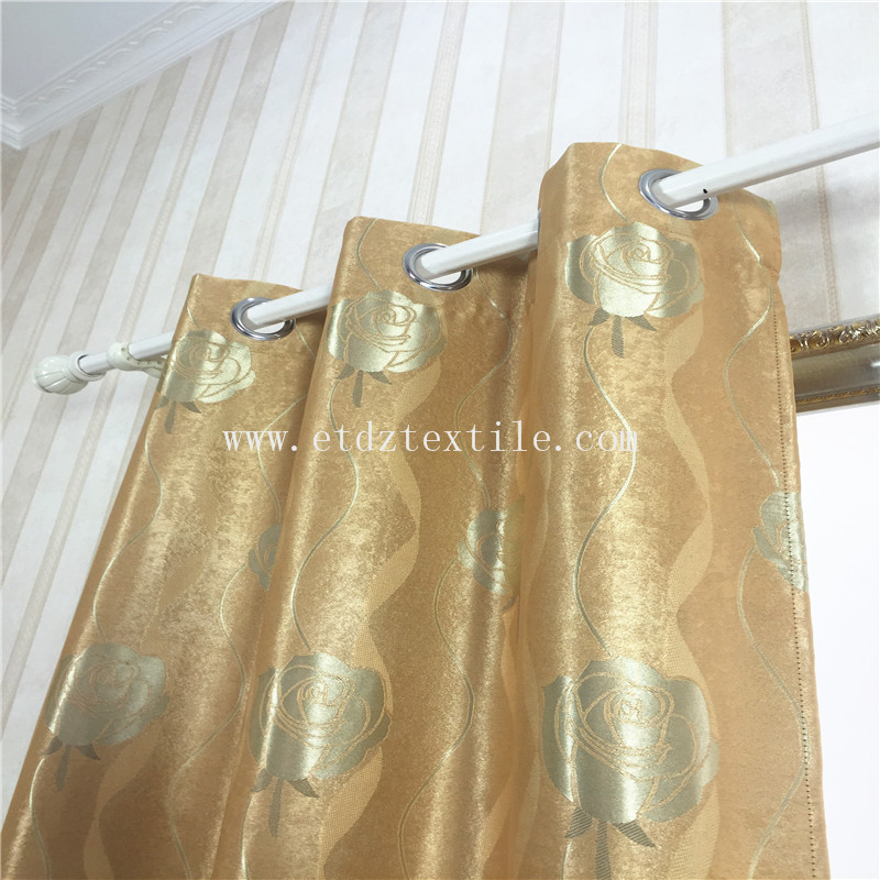 GOLDEN ROSA DESIGN CURTAIN FABRIC