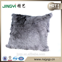 Cubierta de cojín de piel de cabra leche teñida color gris único