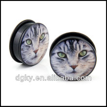 Tiger cat eye face acrylic single flare o ring ear plugs gauges solid tunnel