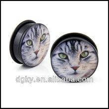 Tigre gato olho rosto acrílico único flare o anel orelha tampões medidores sólido túnel