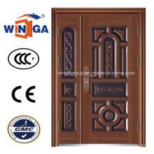 Dould Doorleaf Secuirty Iron Steel Copper Door (W-STZ-04)