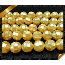 Желтый жемчуг Shell бусы, Мода головоломки Мать оболочки жемчужные бусины (APS022)