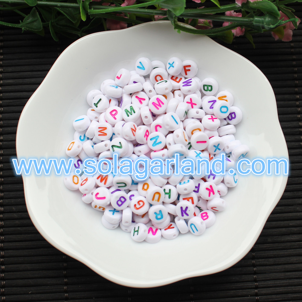 Acrylic Alphabet Letter Coin Beads 4X7MM
