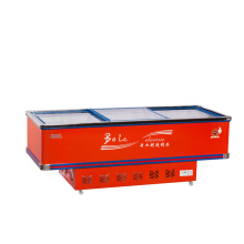 680L Porta deslizante Flat Cabinet Island Freezer para Supermercado