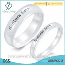Weihnachtsgeschenk, Endless Love Ringe, koreanische einfache weiße Keramik Paar Ringe