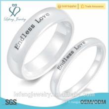 Cadeau de Noël, anneaux d'amour sans fin, anneaux simples en céramique en céramique en coréen