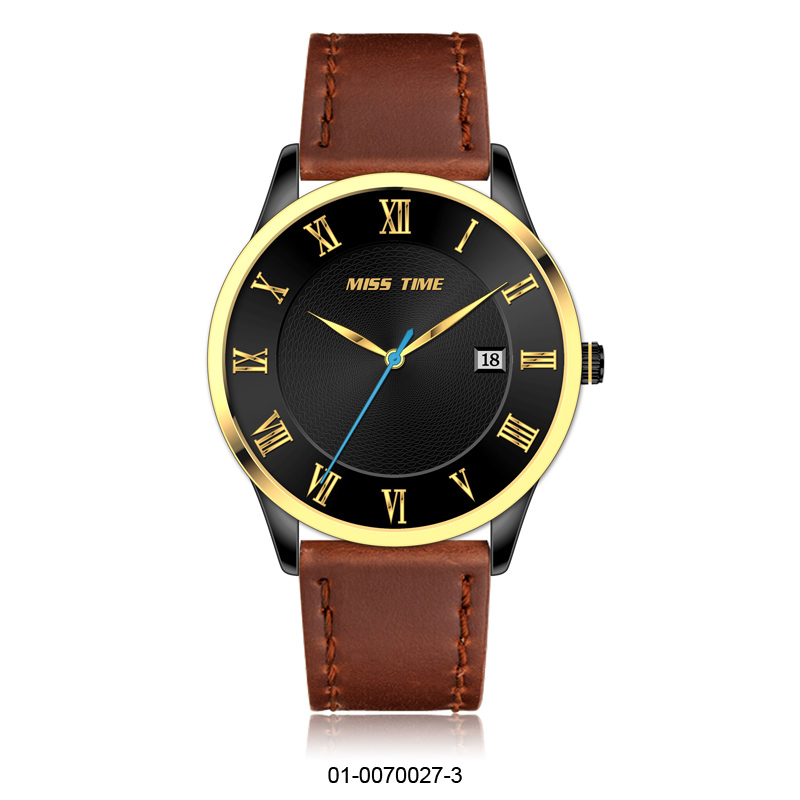 Leather quartz wristwatch men custom brand watch