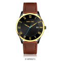 big strap leather stainless steel black quartz watch