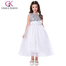 Grace Karin Nueva llegada sin mangas vestido de fiesta de lentejuelas Voile Flor Girl Dresses 12 años chica vestido CL007596-2