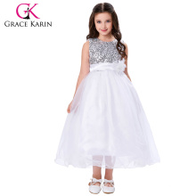 Grace Karin New Arrival Sleeveless Ball Gown Sequins Voile Flower Girl Dresses 12 Year Girl Dress CL007596-2