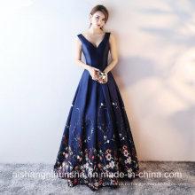 Печатных Цветочные Атласная Пол-Длина V-Образным Вырезом Вечернее Платье Выпускного Вечера