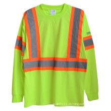 Langarm gestrickte Polyester hohe Sichtbarkeit reflektierende Sicherheit T-Shirt (YKY2806)
