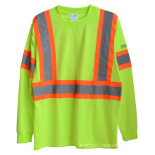 Long Sleeve Knitted Polyester High Visibility Reflective Safety T-Shirt (YKY2806)