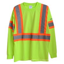 Длинный рукав вязаный полиэстер высокой видимости Отражательная безопасности T-рубашка (YKY2806)