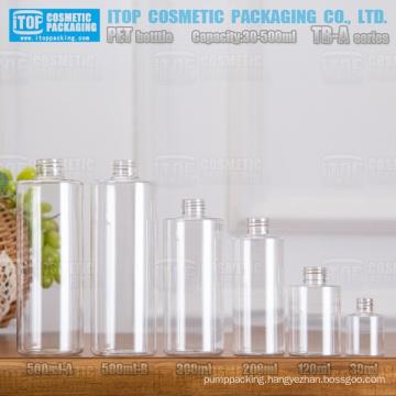 TB-A Series 30ml 120ml 200ml 300ml 500ml classical flat shoulder round good quality clear pet plastic bottle