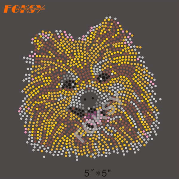 Yellow Dog Iron On Rhinestone Design para Camiseta