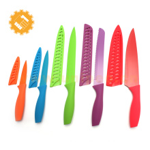Unique kitchen coloured 7pcs colorful non-stick coating knife set with matched sheath