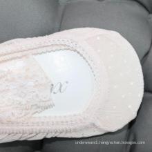 High quality pink mesh socks non slip lace no show boat socks women