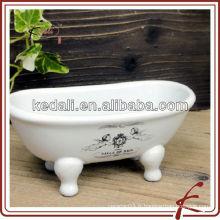 Nouvelle céramique en porcelaine mini baignoire savon vaisselle accessoires de salle de bains