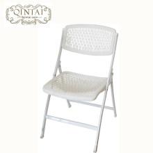 En gros bonne qualité chaise pliante creuse en plastique blanc PP mobilier avec des jambes en acier