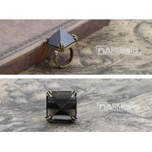 Moda anel inserir preto cristal jóias retrô cobre cor