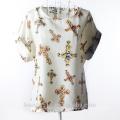 Short sleeved large print chiffon jacket shirt SD103