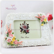 "Promotion Gift White Funia Love Resin Picture Photo Frame (4""X6"")"