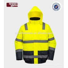 Oi vis fabricantes inverno jaquetas de segurança reflexiva com mangas destacáveis