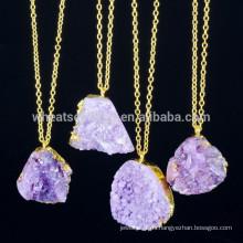 2015 nuevos productos piedra natural druzy collar pendiente alibaba joyería