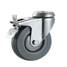 N1221dB Gray Rubber Bolt Hole Brake Industrial Casters and Wheels