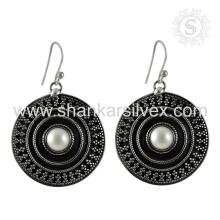 Brinco de pérolas de pérolas à moda e artesanal 925 Prata de prata esterlina a atacado Jaipur Online Jóias de prata