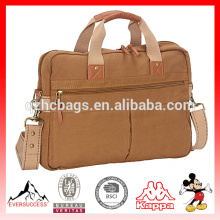 Mens Functional Bag Khaki Canvas Briefcase for Laptop
