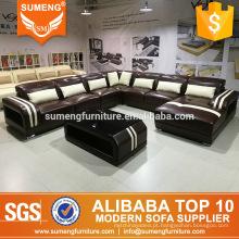 Alibaba moderno 7 lugares sala de estar sofá de couro, sofá simples cenografia