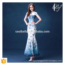 Hot Wholesale Chinese Qipao Style Slim Fashion Women Evening Wear Long Blue Mermaid Evening Dress