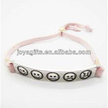 Symbole phiz sculpté en alliage d'argent avec bracelet en cuir rose