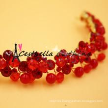 Accesorios para el pelo de la boda joyería hecha a mano del pelo de la joyería auricular nupcial cristalino rojo para las mujeres