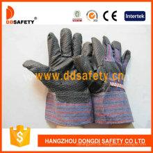 Schwarze PVC-Handschuhe mit Streifen zurück Dgp108